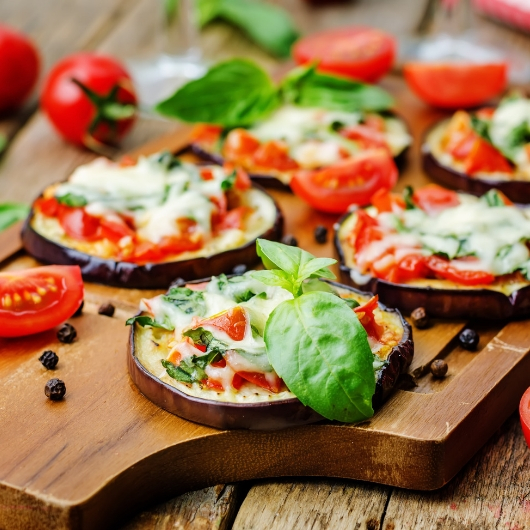 Grilled cheese eggplant and tomato platter appetizer