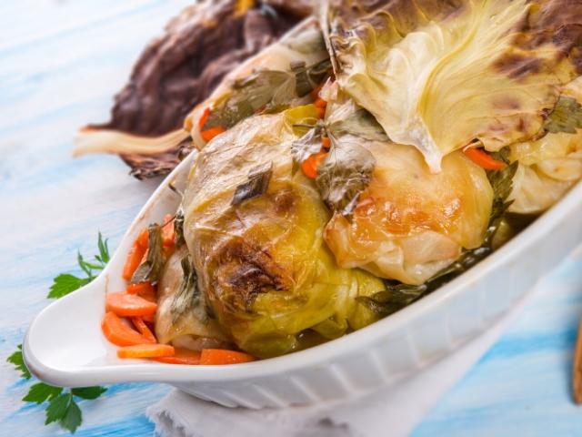 Savory Veggie Cake in Cabbage Leaves (VEGAN)